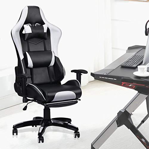 Homall - Silla ejecutiva giratoria de piel para juegos, estilo de carreras, respaldo alto, silla de oficina con soporte lumbar y reposacabezas