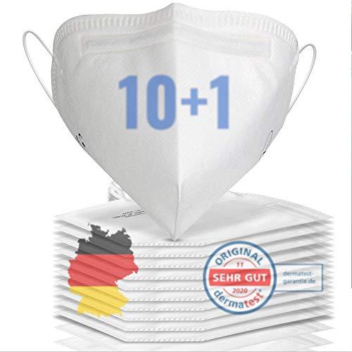 11x FFP2 Maske CE zertifiziert aus DEUTSCHLAND - Geprüfte FFP2 Maske CE zertifiziert deutscher Hersteller - Mund und Nasenschutz - 4 Lagen- Mundschutz Atemschutzmaske Einwegmaske für Brillenträger