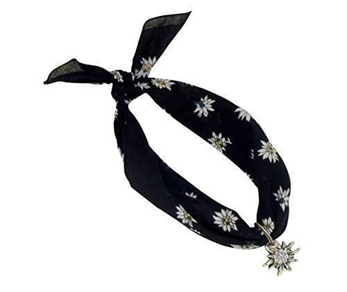 Karl Teichmann Schwarzes Nickituch im Edelweißdesign mit Edelweißanhänger   Anhänger mit original Ostinoff-Strasssteinen   Bandana aus 100% Baumwolle   Halstuch 53 x 53 cm