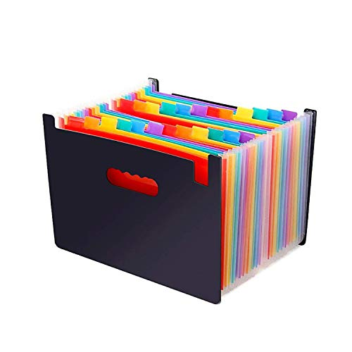 Expanding Multi-Color Accordion File Folder 24 Pockets A4 Document Paperwork Tax Bill or Receipt Organizer with Expandable Wallet Stand