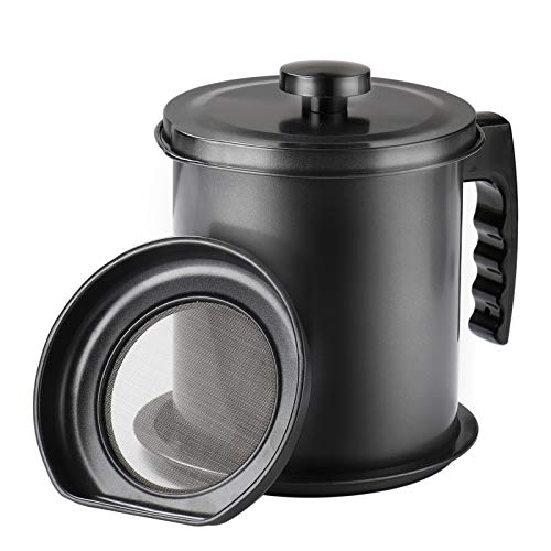 Ourokhome Bacon Grease Container Strainer- 6.7 cup/ 1.6L Kitchen Oil Can for Used Cooking Oil, Fat and Frying Oil (Black)