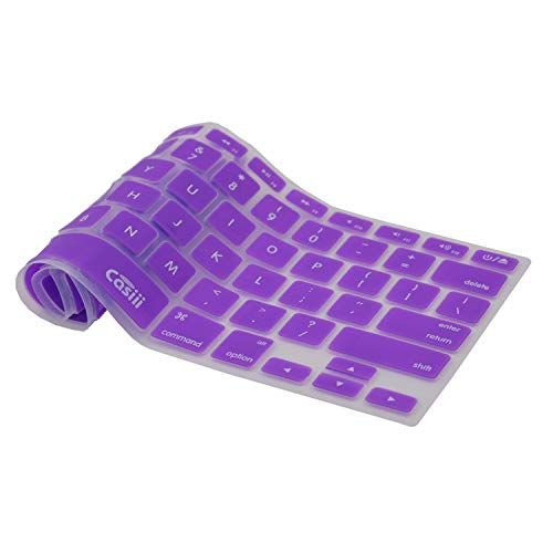 SALE Casiii Macbook Pro Keyboard Cover Air Wireless Keyboard and iMac 13 15 and 17 Inch, With/Without Retina, Engineer-Quality Silicone (Purple)