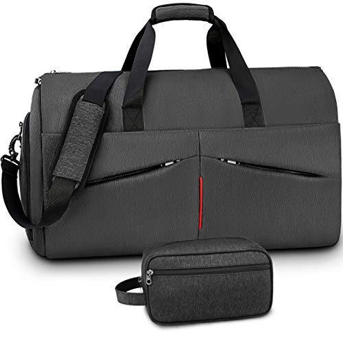 Carry on Garment Bag with Toiletry Bag Convertible Suit Travel Bag with Shoes Compartment Waterproof Large Duffel Bag Weekender Duffle Bag for Men Women Dark Black
