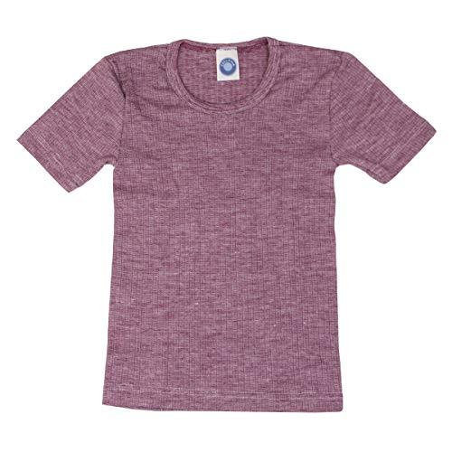 Cosilana, Kinder Unterhemd Kurzarm, 45% KBA Baumwolle, 35% kbT Wolle, 20% Seide (Weinrot Meliert, 104)