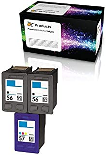 OCProducts Refilled Ink Cartridge Replacement for HP 56 and HP 57 for PSC 1315 PSC 2410 PSC 1110 PSC 2175 Officejet 6110 Deskjet 450 PhotoSmart 7150 7260 Printers (2 Black 1 Color)