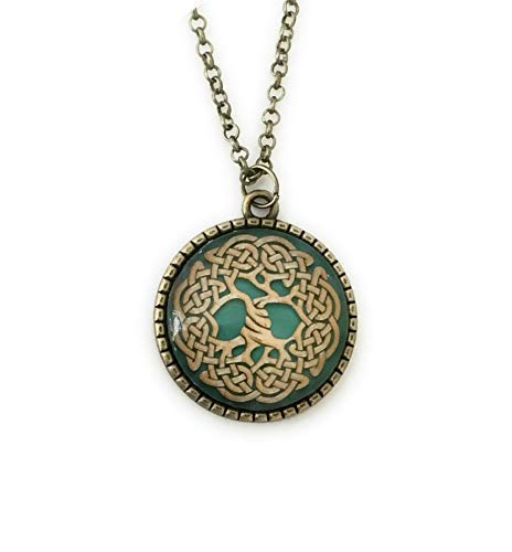 Tree of Life Necklace - Green Celtic Knot - Druid Jewelry - 24 inches