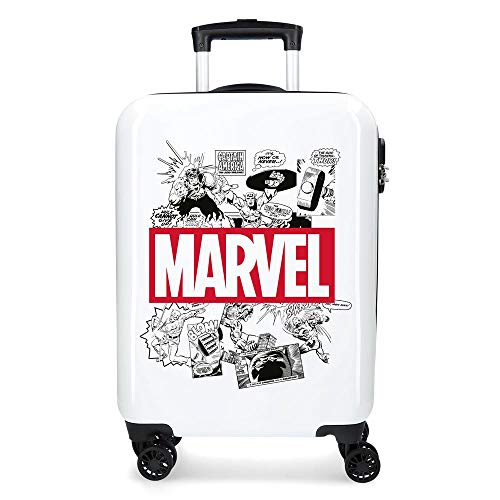 Marvel Avengers Comic White Cabin Suitcase 40 x 55 x 20 cm Rigid ABS Combination Lock 34 Litre 2.6 kg 4 Double Wheels Hand Luggage