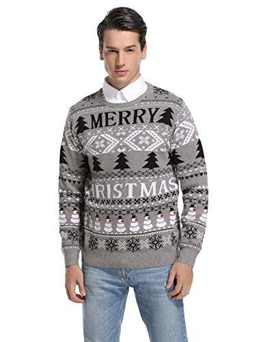 Hawiton Jersey de Navidad para Hombre Suéter de Punto Muñeco de Nieve...