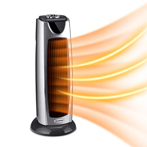 Homeleader Tower Heater, Portable Oscillating Electric Heater, Ceramic Space Heater with Carrying Handle and Tip Over Switch for Home and Office Heater Space