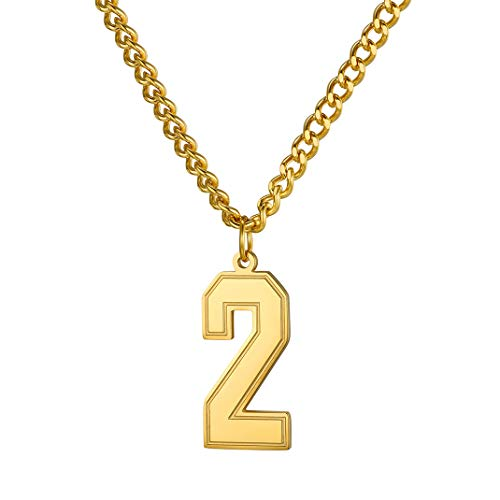 GoldChic ジュエリー番号ネックレス ユニセックス 18Kゴールドメッキ/ステンレススチール/ブラックロジウムメッキ ラッキーベースボールジャージ 0-9のチャームペンダント カーブチェーン付き 22+2インチのエクステンダー付き