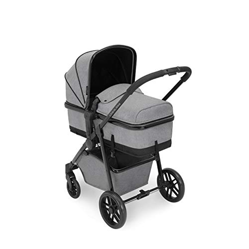 Ickle Bubba Moon, All in one Travel System, Includes carrycot, Reversible Pushchair, and Galaxy Group 0+ car seat with ISOFIX Base(Space Grey with Black Handles)