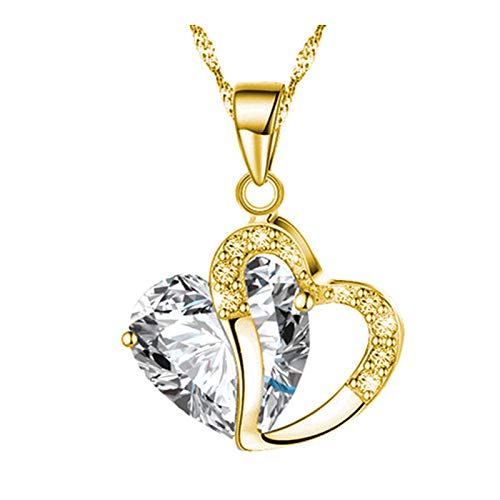 Forever Love Heart Pendant Necklaces Jewelry for Her, Rhinestone Pendant Necklace in Gold Chain - Crystal Gifts for Anniversary Wedding Birthday Valentine's Day Girlfriend Wife Mother (White)