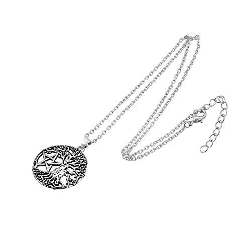 YioKpro Vintage Árbol de la Vida Yggdrasil Pentáculo Amuleto Estrella de David Viking Tunes Portugal Collar Colgante Color Plata Antigua