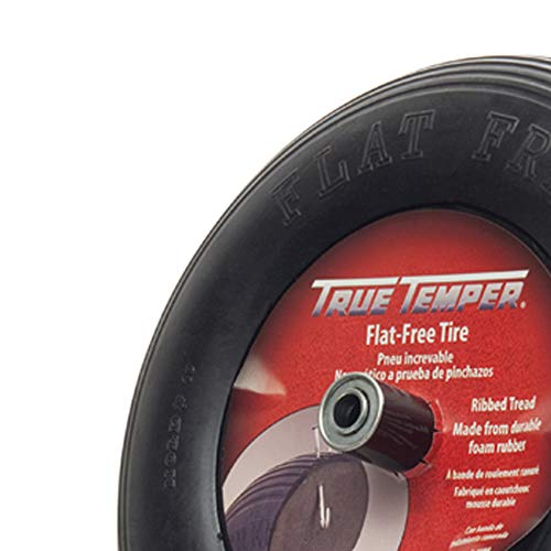 True Temper FFTCC 8 in. Hub Never Flat Wheelbarrow Tire with Ribbed Tread, 8-Inch,Black