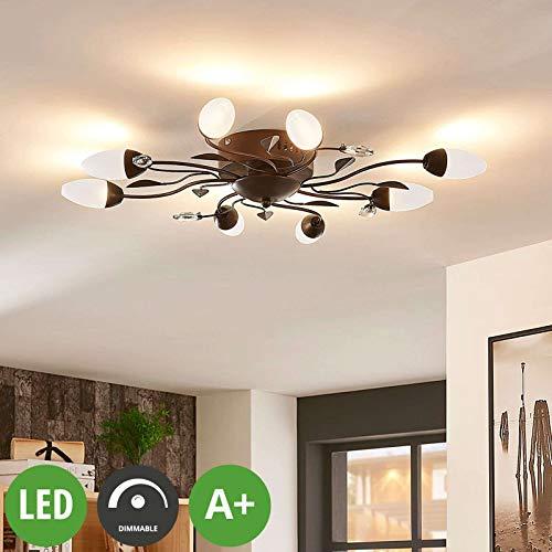 Lampenwelt LED Deckenleuchte 'Renato' dimmbar (Landhaus, Vintage, Rustikal) in Braun aus Metall u.a. für Wohnzimmer & Esszimmer (8 flammig, A+, inkl. Leuchtmittel) - Lampe, LED-Deckenlampe