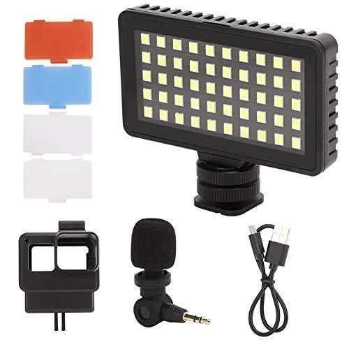 Topiky Action Camera Vlog Fotoset, kooi verlengingsframe 6000 K 50 stuks parels LED-licht met 3 helderheidsniveaus + softbox + mini microfoon kit met koude schoen voor GoPro 7/6/5 sportcamera
