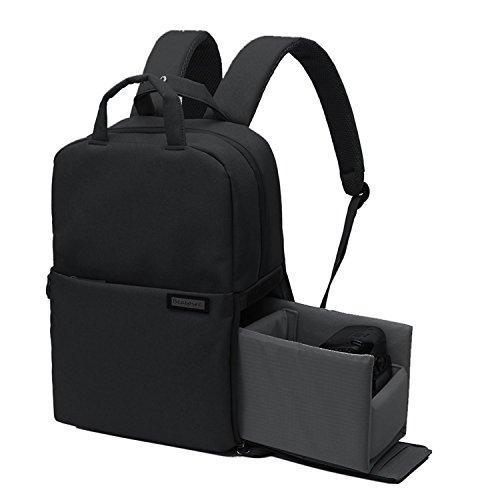 Beaspire Multifunción Profesional Mochila Bolsa Impermeable para Cámara Réflex DSLR de Viajes para Nikon Canon Sony Pentax Sony con Cubierta de Lluvia (Negro)