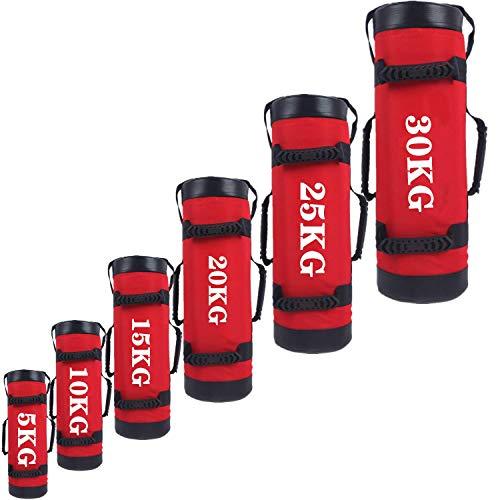 YZBBSH Sandbag Power Bag 5kg 10kg 15kg 20kg 25kg 30kg Regolabile Peso Sand Bag per Functional Allenamento Fitness Sacco di Sabbia (Niente Sabbia),Rosso,30kg