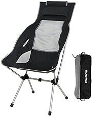 MARCHWAY アウトドアチェア キャンプ 椅子 ハイバック リクライニング 背もたれ ヘッドレスト付き 折りたたみ 軽量 コンパクト ポータブル アルミ合金製 ハイキング ツーリング ピクニック用 耐荷重135kg