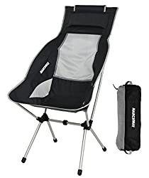 MARCHWAY Lightweight Folding High Back Camping Chair with Headrest
