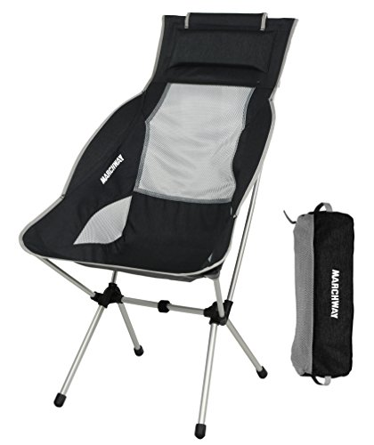 MARCHWAY Lightweight Folding High Back Camping Chair with Headrest, Portable Compact for Outdoor...