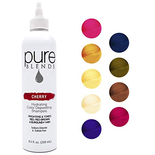 Pure Blends Cherry Hydrating Color Depositing Shampoo - Infused with Keratin & Collagen to Repair Dry & Damaged Hair - Eliminate Color Fade - Sulfate, Sodium Chloride, Paraben & Gluten-Free - 8.5 Oz