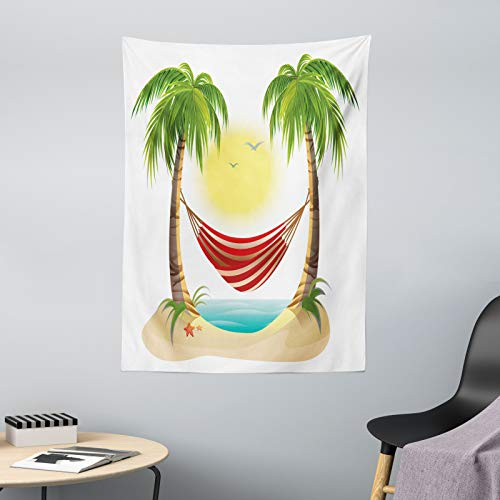 ABAKUHAUS Graphic Beach Wandtapijt, Hangmat tussen Palms, Stoffen Muurdecoratie voor Woonkamer Slaapkamer Slaapzaa, 110 x 150 cm, Veelkleurig