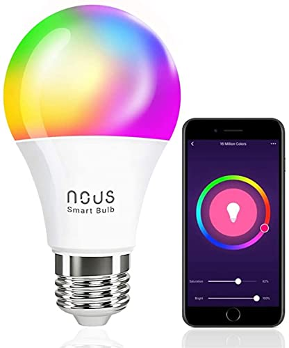 Alexa E27 RGBW Ampoule connectee - LED WiFi Dimmable 800lm 9W couleur ampoules intelligente avec telecommande app. Amazon Echo, Google Home, Tuya smart life compatibles multicolore lumiere - Nous P3