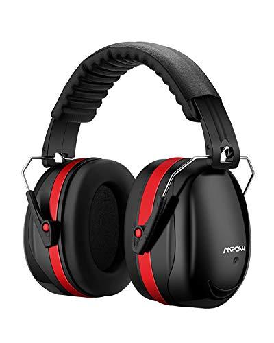 Mpow Kapselgehörschutz Ohrenschützer mit SNR 34dB, Größenverstellbare Gehörschutz mit Faltbarer Kopfbügel für Lärm bis 98dB, Lärmschutz Kopfhörer für Baustelle, Gartenarbeit, Fabriken, usw.