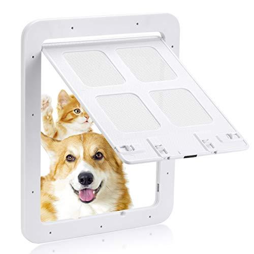 Trampilla para perros, trampilla para gatos, puerta mosquitera (tamaño exterior: 24 x 29 cm), trampilla para mascotas con bloqueo de 4 direcciones, mosquitera para perros pequeños (Blanco L)