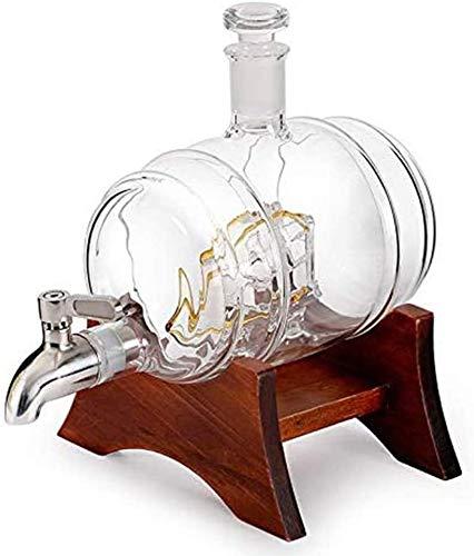 HLR Vasos de Whisky Jarra de Whisky Whisky la Jarra, 1000ml Globo Jarra con Forma de Acero Inoxidable Grifo Velero, Incluye Marco de Pino y Fuerte a Prueba de choques (Size : 1000ML)