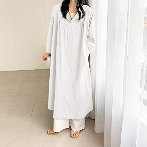 Jskdzfy Chaquetas de mujer con capucha Gabardina para mujer con bolsillo de botón sólido abrigo largo manga larga plisada gabardina abrigos para mujer (color: blanco, tamaño: pequeño)