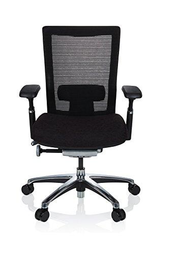 hjh OFFICE 657651 Profi Bürostuhl NOVA PRO Stoff Schwarz Schreibtischstuhl ergonomisch mit Netzrücken