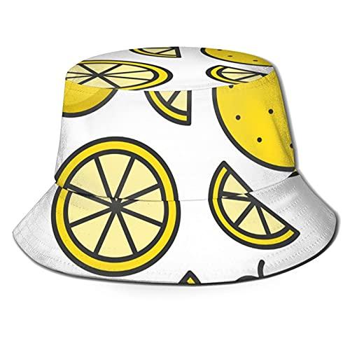 N \ A Sombrero de cubo negro limón al aire libre plegable sombrero de pescador moda pescador playa sombrero de sol femenino masculino adolescente