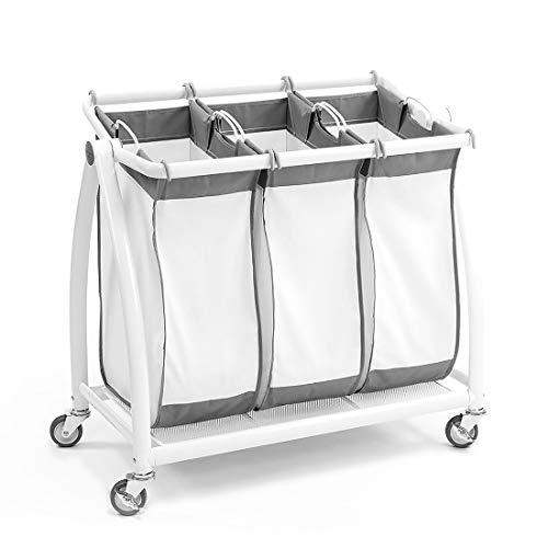 Seville Classics Premium 3-Bag Heavy-Duty Tilt Laundry Hamper Sorter Cart, White