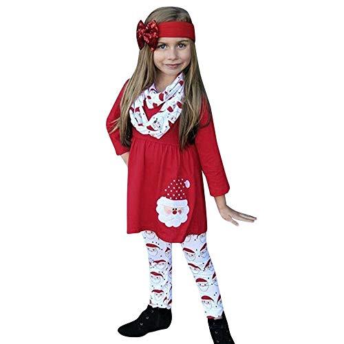 Disfraz Navidad Bebe niña Ropa casera Conjunto de 3 Piezas Manga Larga Vestido Estampado de Santa + Pantalones + Banda para el Cabello 1-5 años