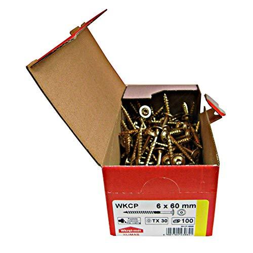Tellerkopfschrauben Holzbauschrauben alle Größen Tellerkopf Torx Schrauben (100Stück 6x60mm TX30)