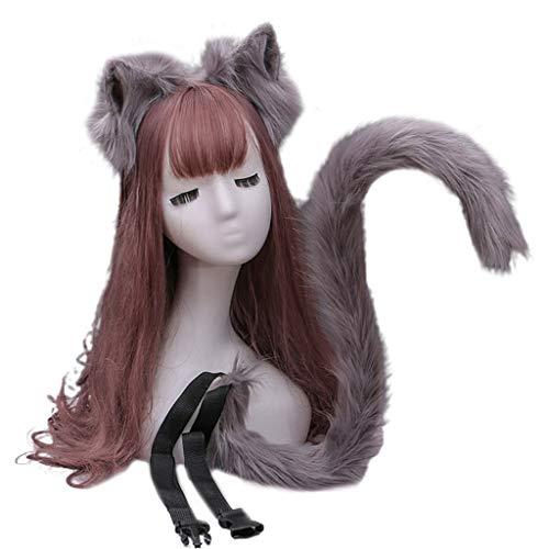 WE-WHLL - Diadema de orejas de gatito de felpa con...