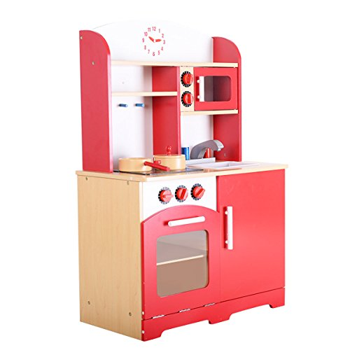 Giantex Wood Kitchen Play Set for Kids Cooking Pretend Toddler Playset, Red