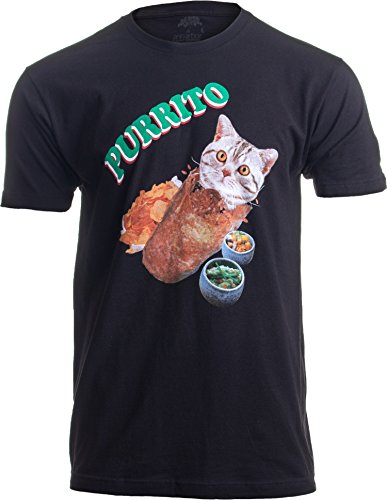 Purrito | Cat in a Burrito Funny Mexican Food Kitty Salsa Guac Kitten T-Shirt-(Adult,L) Black
