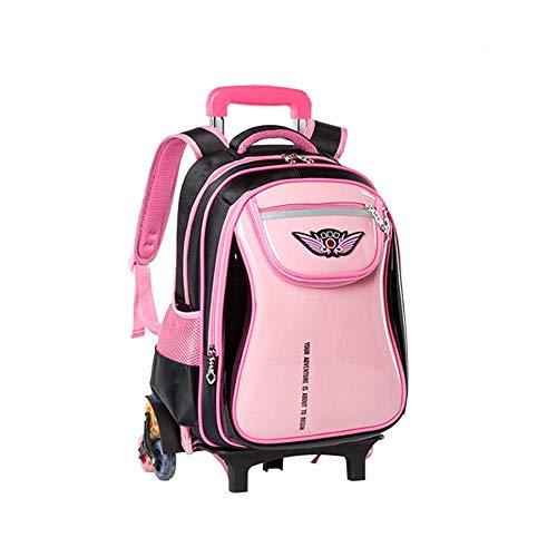 Durable Universal Wheel Trolley Travel Bag Trolley Schoolbag Students 6 Wheels Waterproof Climb Stairs Girls Boys Backpack Large Capacity Easy To Clean School Bag Detachable Durable Mold Wheels