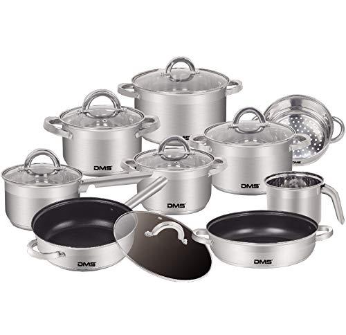 DMS 15-teiliges Topfset aus hochwertigem Edelstahl | Induktion | beschichtetes Kochset und Pfannenset | Kochgeschirr | hochwertiges Küchenset | pflegeleicht | Stielkasserolle | Milchtopf