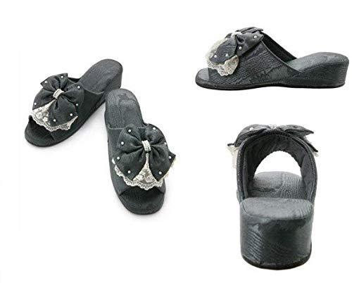 【 ブラック 】 スリッパ 来客用 業務用 ヒールスリッパ プリンセスリボン ルームシューズ LALUICE(ラルイス) 黒