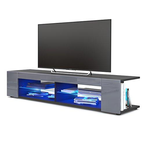 TV Board Lowboard Movie, Korpus in Schwarz matt/Fronten in Grau Hochglanz inkl. LED Beleuchtung in Blau