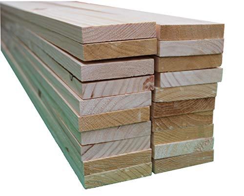 Listones de madera de pino maciza de 120 cm x 9cm x 1.8cm de grosor (20 unidades). Natural en crudo. Para bricolaje, manualidades y carpintería.