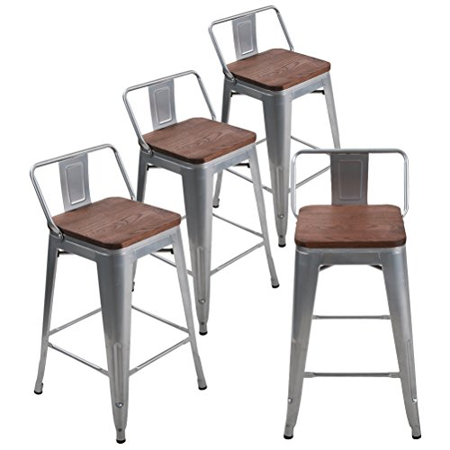 Andeworld Metal Bar Stools Set of 4 with Backs Counter Height Barstools Industrial Style (24 Inch, Silver with Wooden Seats)