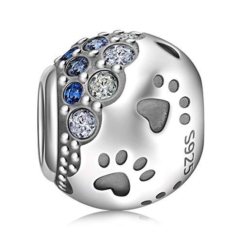 925 Sterling Silver Charm Bead empreinte /& Bone Zircone cubique bijoux pour bracelet collier