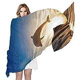 QMIN - Bufanda de seda para saltar al océano, delfín, moda, larga, ligera, chal de Sheel organizado, bufandas, silenciador para mujeres y niñas
