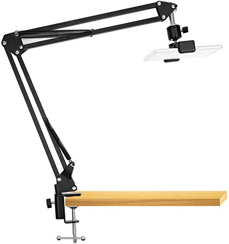 SHOPEE Overhead Video Stand Phone Holder Articulating Arm Phone Mount Table Top SHOPEE Scissor Boom Arm Articulating Phone Stand Tablet Phone Holder for Streaming Phone Baking Crafting Videos and More
