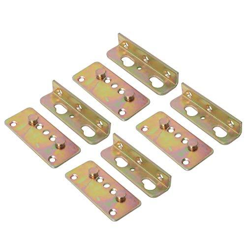 NiceDD No-Mortise Bed Rail Fittings, Bed Rail Hardware Complete Set van 4 Rechts - Premium Heavy Duty Roest Proof Frame Bracket voor Verbinding met Hout, Hoofdborden en Voetborden, Rechts